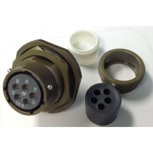 Circular Connector, KPT Series, Jam Nut Receptacle, 5 Contacts, Solder Socket, Bayonet, 14-5