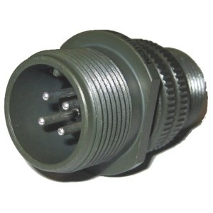 Threaded General Purpose Cable Connector Receptacle - Size 14, 4 Pin