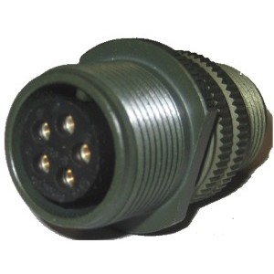 Threaded General Purpose Cable Connector Receptacle - Size 14, 5 Socket