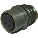 Threaded General Purpose Cable Connector Receptacle - Size 18, 4 Socket