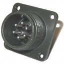 Threaded Box Mount Receptacle - Size 14, 6 Pin
